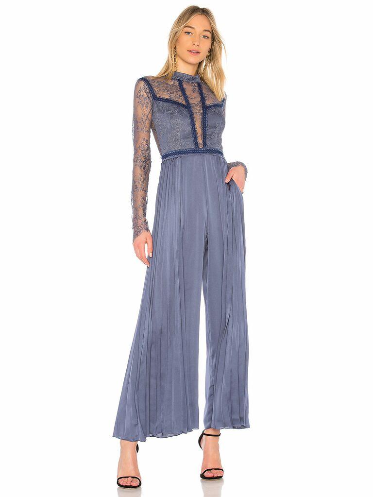 blue pleated jumpsuit