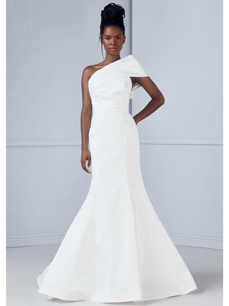 Amsale one-shoulder cap sleeve fit-and-flare wedding dress