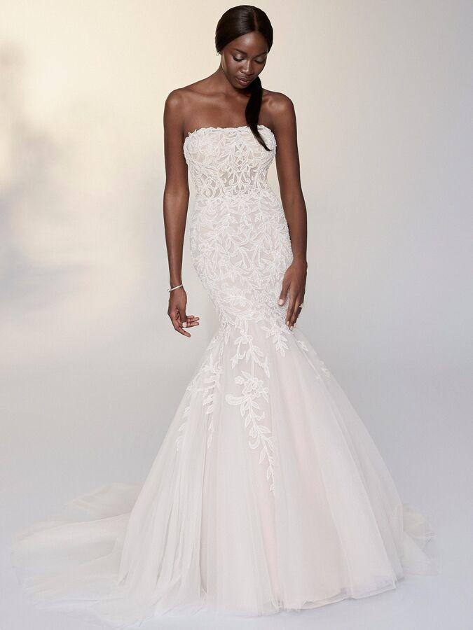 Justin Alexander Signature strapless beaded trumpet wedding dress