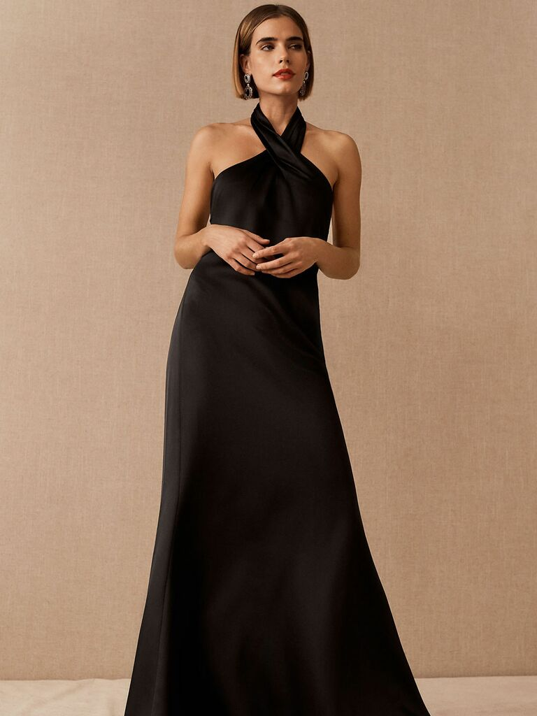 Black satin formal fall wedding guest dress with wrapped high neckline
