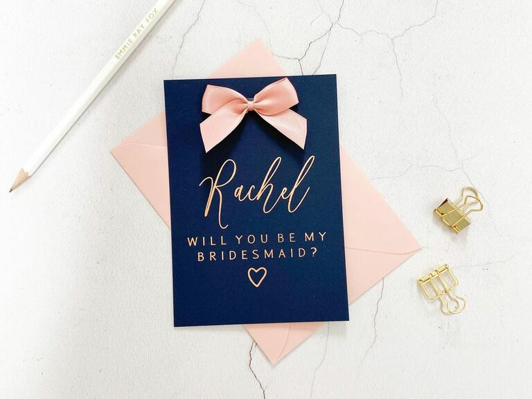navy bridesmaid proposal card with rose gold