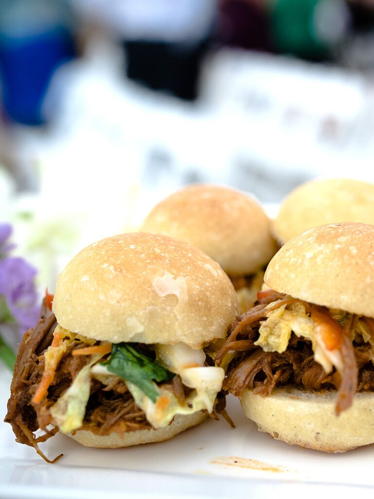 Southern wedding food idea with pulled pork sliders