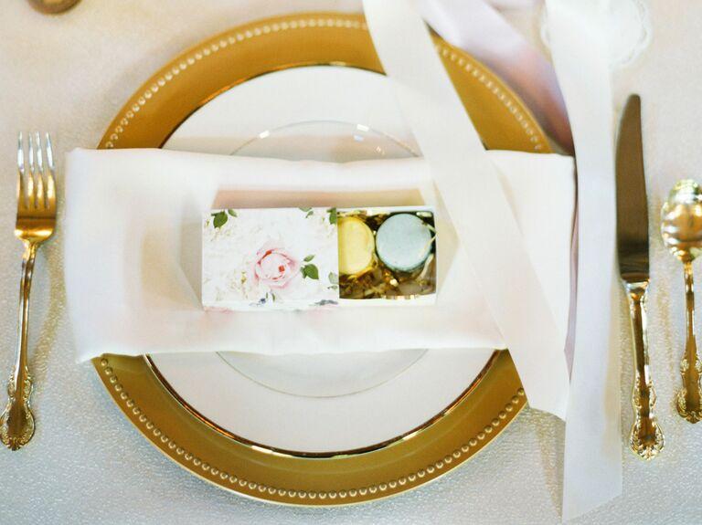macaron wedding place card favors