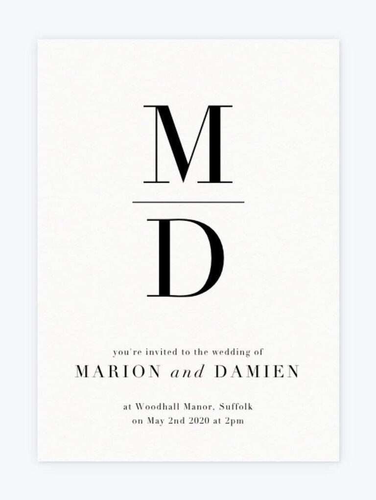 Bold monogram minimalist wedding invitation
