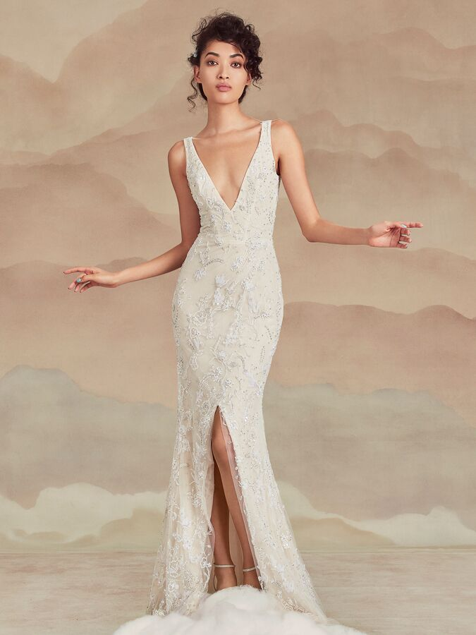 Ines Di Santo embellished sleeveless V-neck wedding dress