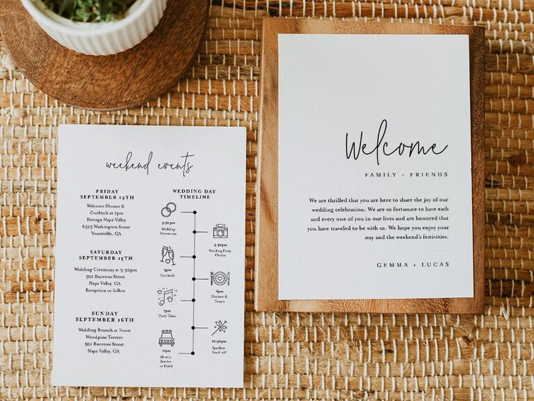 Welcome note and itinerary for couple's wedding weekend