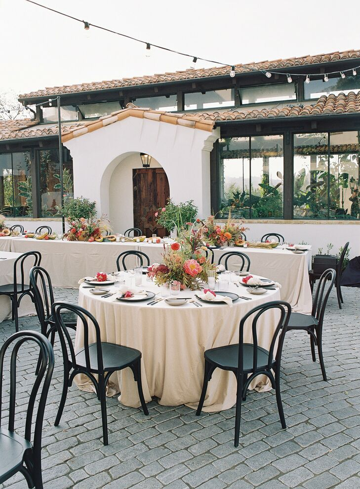 Guests Dined at Round Tables During Wedding Reception
