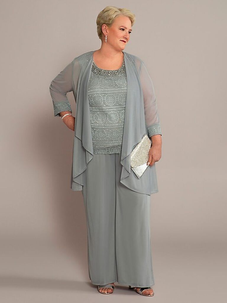 david's bridal silver three piece mother of the bride pant suit with jewels