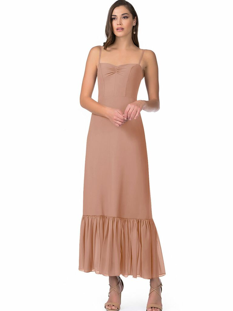 Taupe colored sheath fall wedding guest dress with ruffled hemline