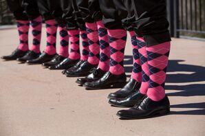 Groomsmen Pink Argyle Socks