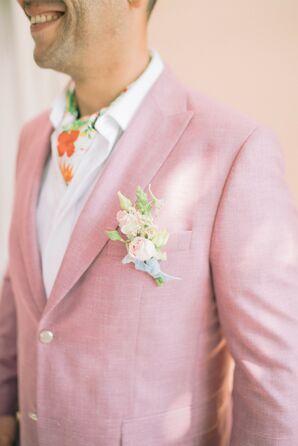 Groom in Pastel Pink Suit Jacket