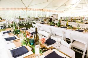 Casual Dining Tables at Backyard Tent Reception