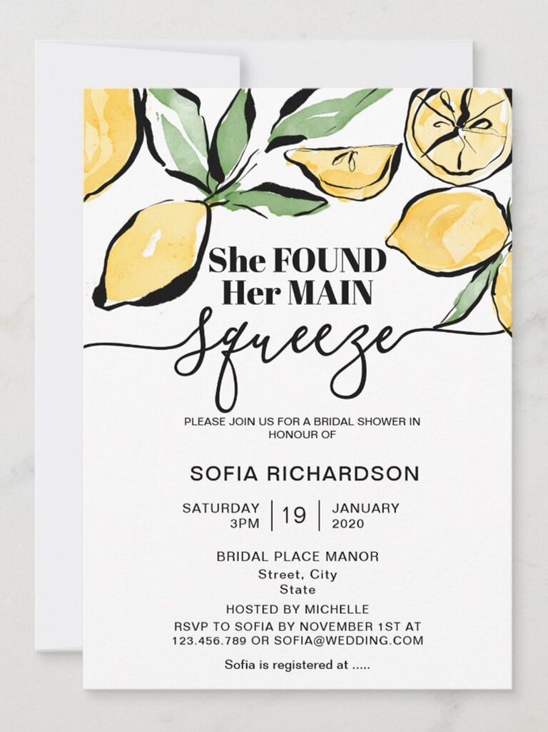 'She found her main squeeze' in black type with lemon graphics on top border