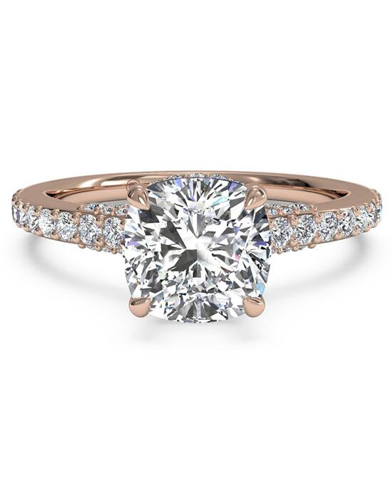 Ritani French-Set Diamond Band Engagement Ring - in 18kt Rose Gold for a Cushion Center Stone Engagement Ring photo