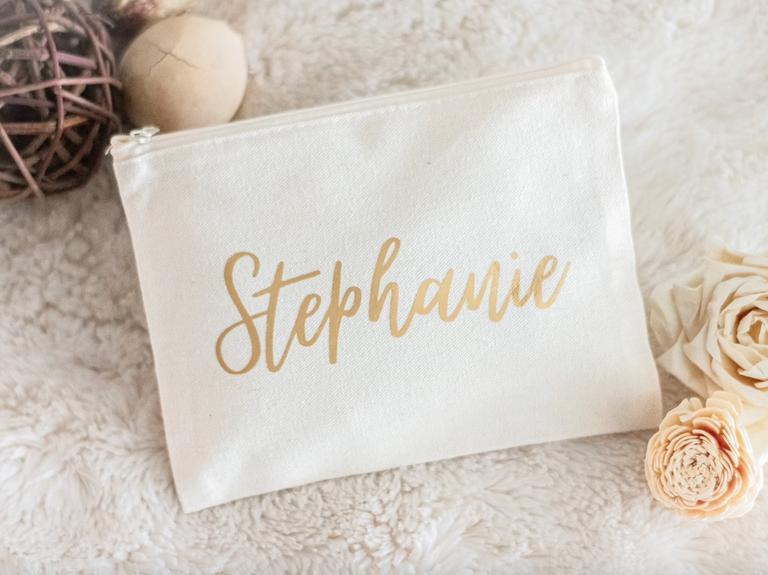 cotton canvas bridesmaid makeup bag
