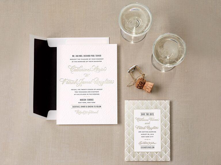 Gold foil deco-inspired wedding invitation