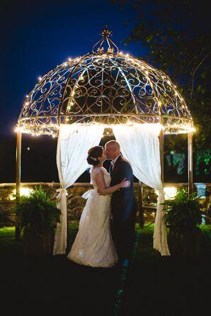 Illuminated Gazebo Wedding Portrait
