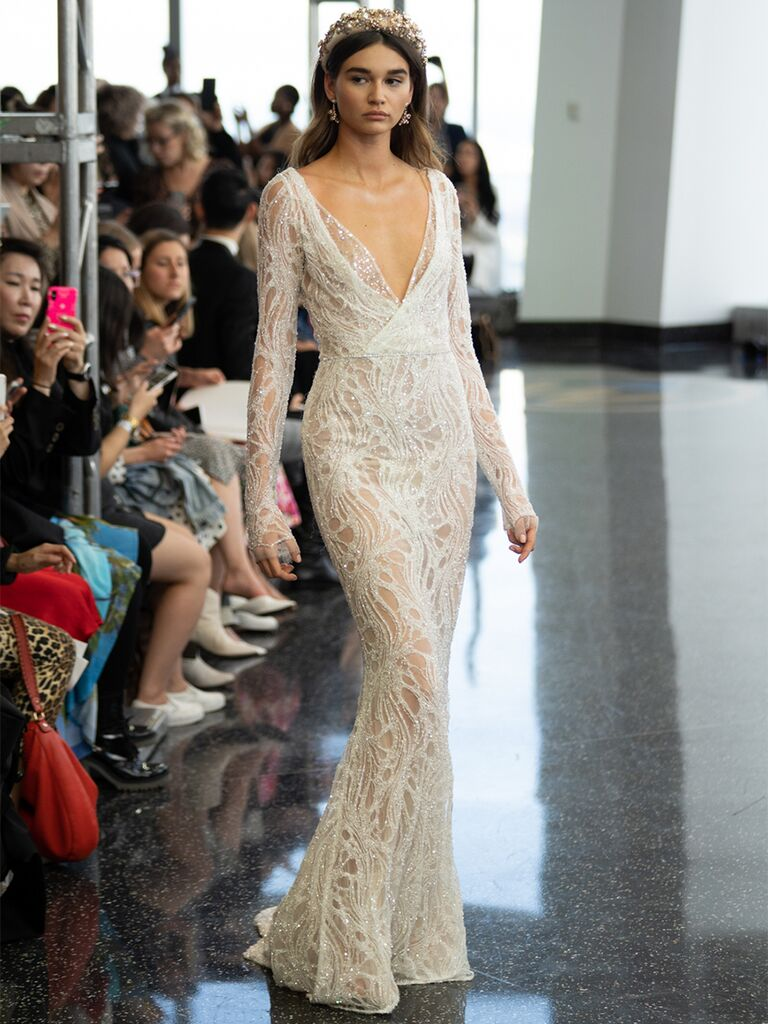 berta long sleeve v-neck dress