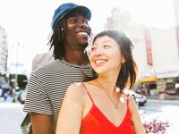 Couple on city street.