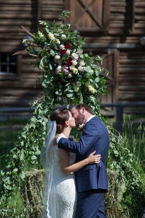Lush Eucalyptus and Rose Wedding Arch