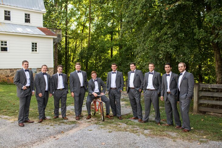 The guys sported classic gray suits for the affair, adding black bowties for a hint of Southern flair.