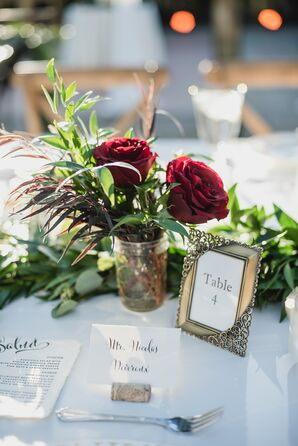 Rose and Mixed Greenery Mason Jar Arrangement