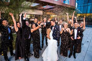 Confetti Toss with Wedding Party