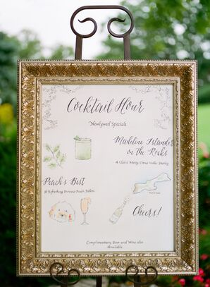Gold Framed DIY Watercolor on Canvas Cocktail Hour Sign
