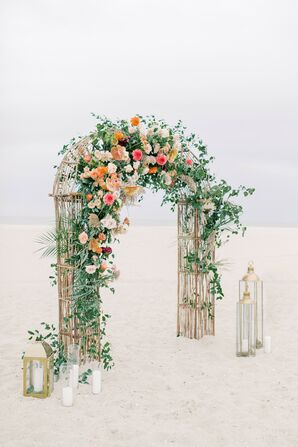 Colorful Wedding Arch at Beachfront Wedding Ceremony