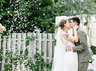 """Pastel pink and blue tied together a vintage-inspired, backyard meets beachparty with quirky details and a sweet """"love story"""" theme for Kristen Sabes"""