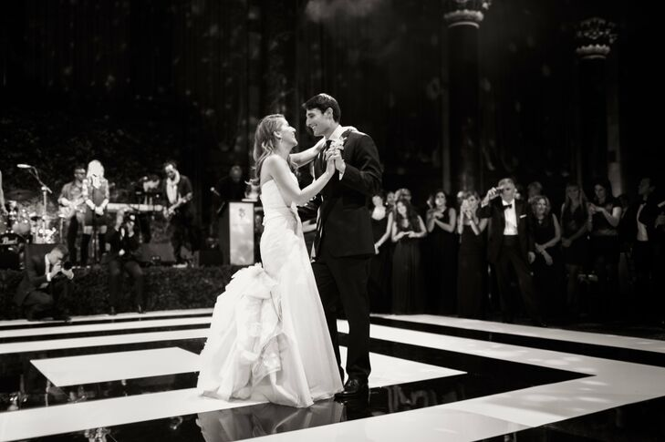 """The couple had a custom black-andwhite dance floor made for the reception. Their first dance was to """"Crazy Love"""" by Van Morrison."""