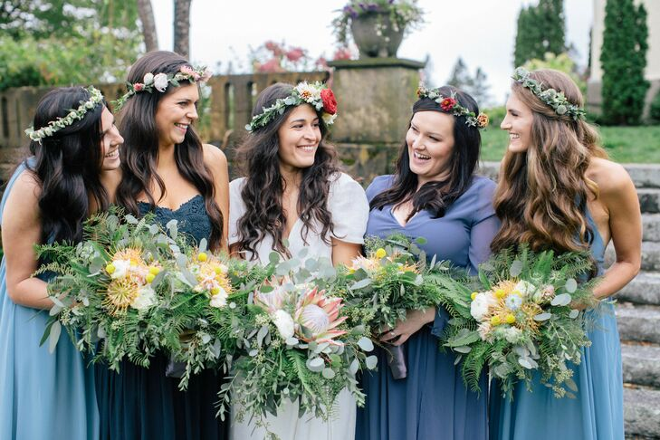Bride and Bridesmaids in Mismatched Blue Dresses