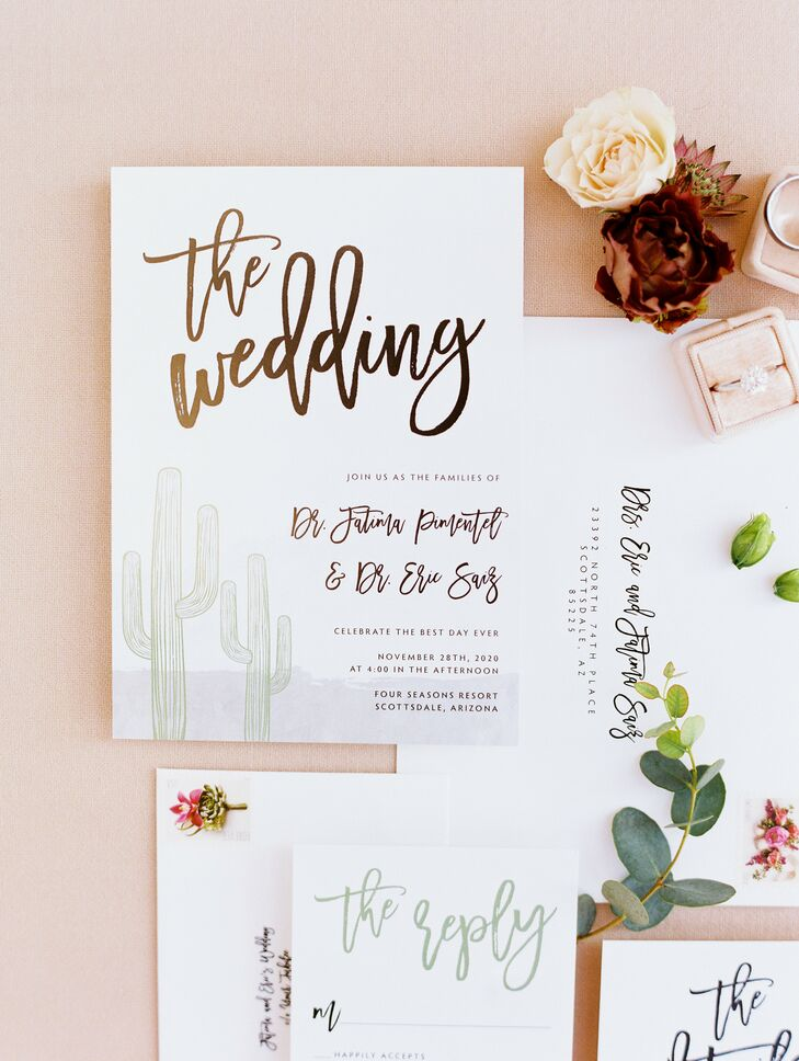 Invitation With Metallic Calligraphy Details