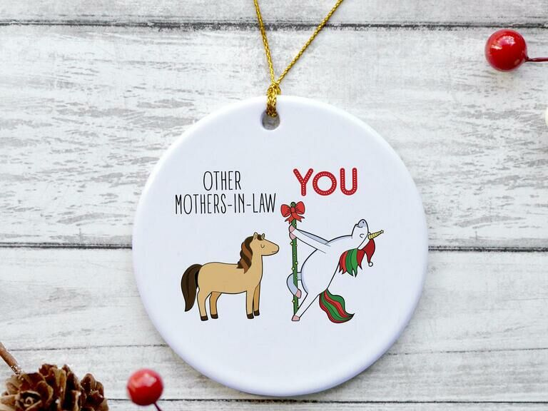 Funny holiday ornament showing Other Mothers-in-Law vs You