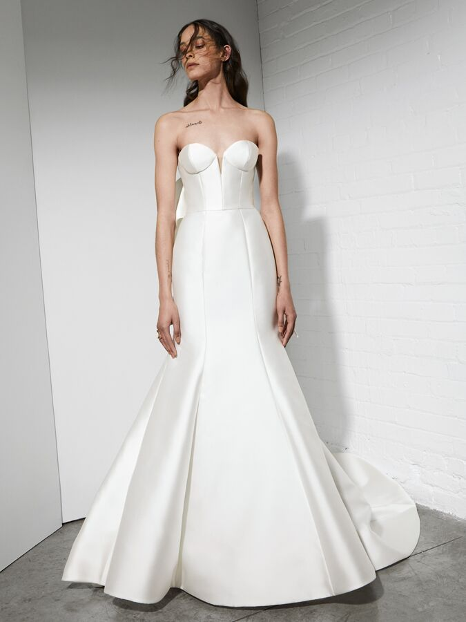 Rivini fit-and-flare wedding dress with sculpted corset bodice