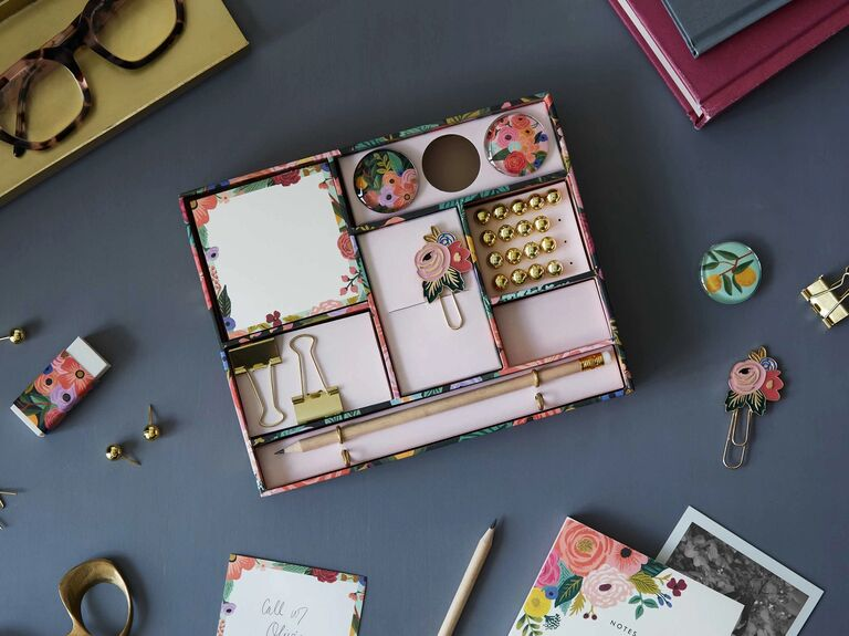 Floral stationery supply box modern 7 year anniversary gift