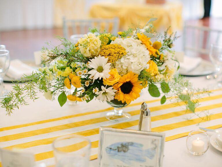Wedding Centerpieces Sunflowers and Dahlias