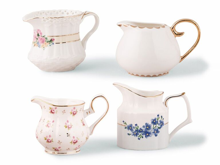 the knot set of 4 vintage creamer floral vases for paris themed bridal shower