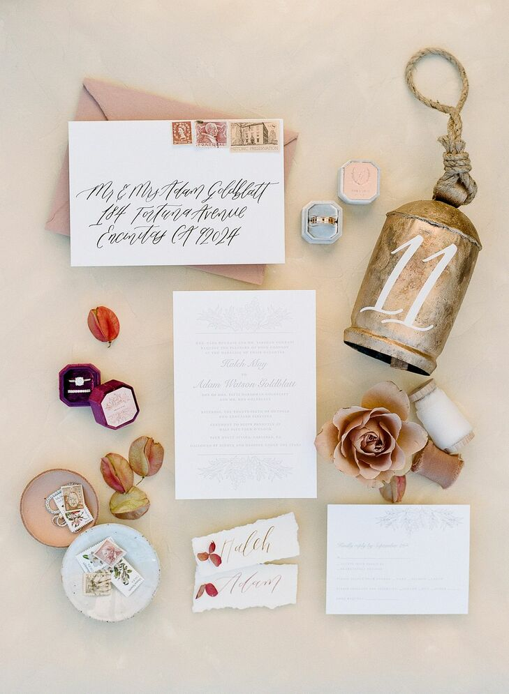 Invitation and Stationery Details for San Diego, California, Wedding