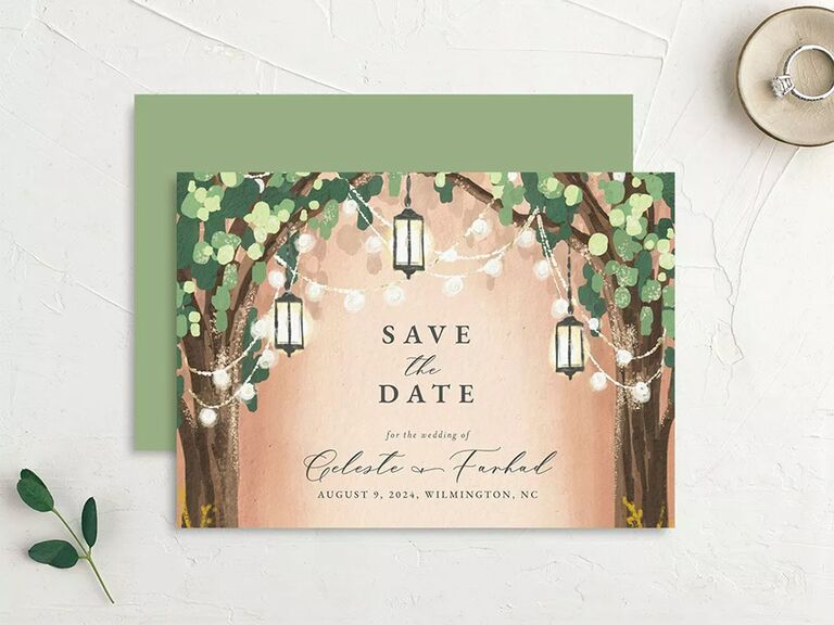 Tree and string light graphics with 'Save the date' in elegant type
