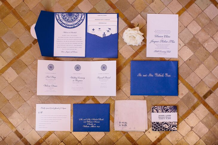 Where possible, Lauren and Jacques sourced decor and other items from Marrakech's iconic souks. The pair purchased 150 blue and white zellige tiles to use as their save-the-dates and then worked with Catherine Sullivan of Chicago's Charm Studio to incorporate their favorite tile design into a suite of custom stationery.