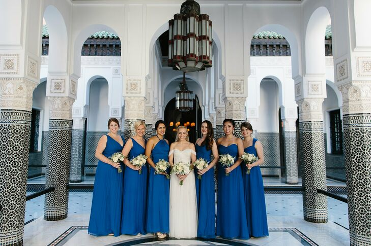 Wanting her bridesmaids to have the opportunity to show off their own styles, Lauren had each choose her own gown from Amsale's bridesmaid collection. In alignment with the wedding's palette, a dramatic shade of blue was a natural choice for the girls.