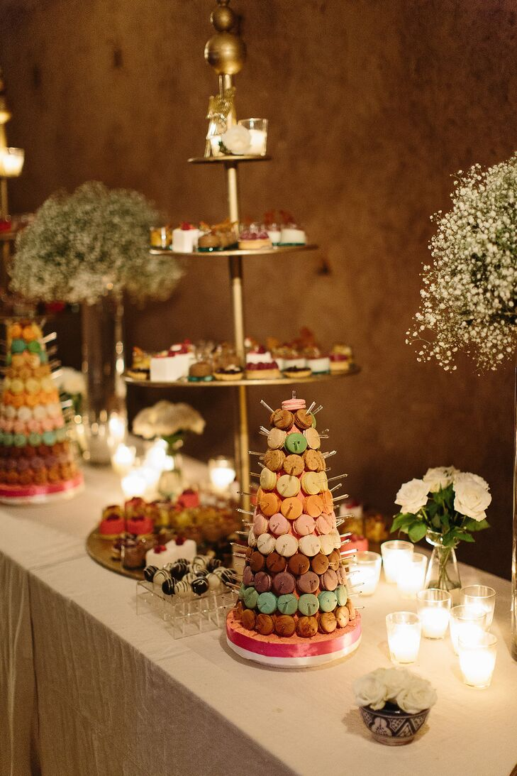 While the couple's three-course Moroccan feast was enough to send guests' tongues wagging, Lauren and Jacques followed the meal with an inspiring spread of macarons, chocolate mousse, fruit salad, panna cotta and petits fours.