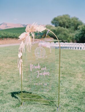 Acrylic Wedding Signage at Greengate Ranch and Vineyard in San Luis Obispo, California