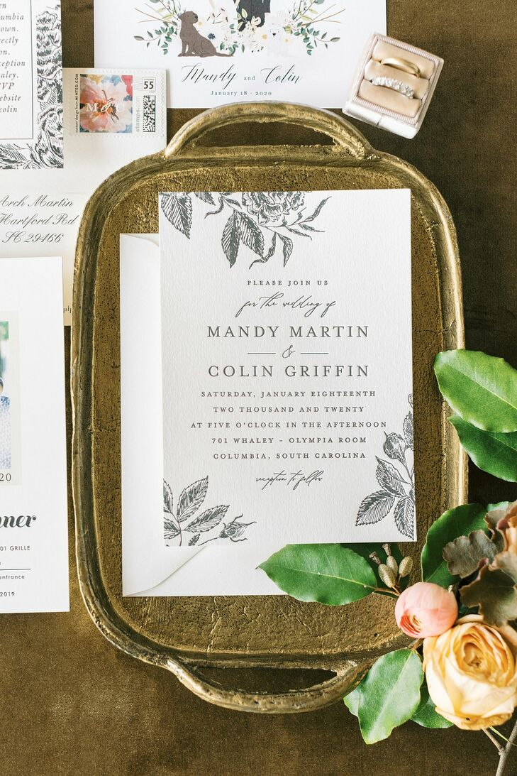 Classic Invitation for Wedding at 701 Whaley in Columbia, South Carolina
