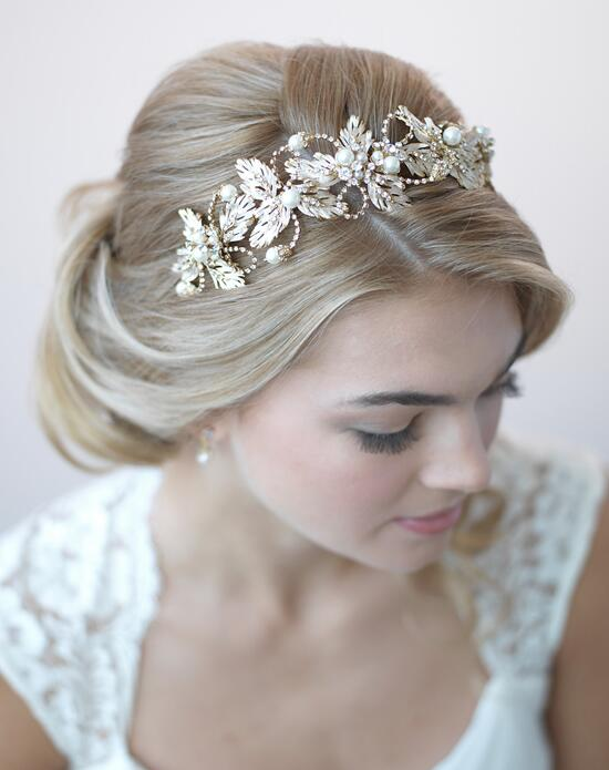 USABride Adeline Gold Pearl Leaf Headband Wedding Headbands photo