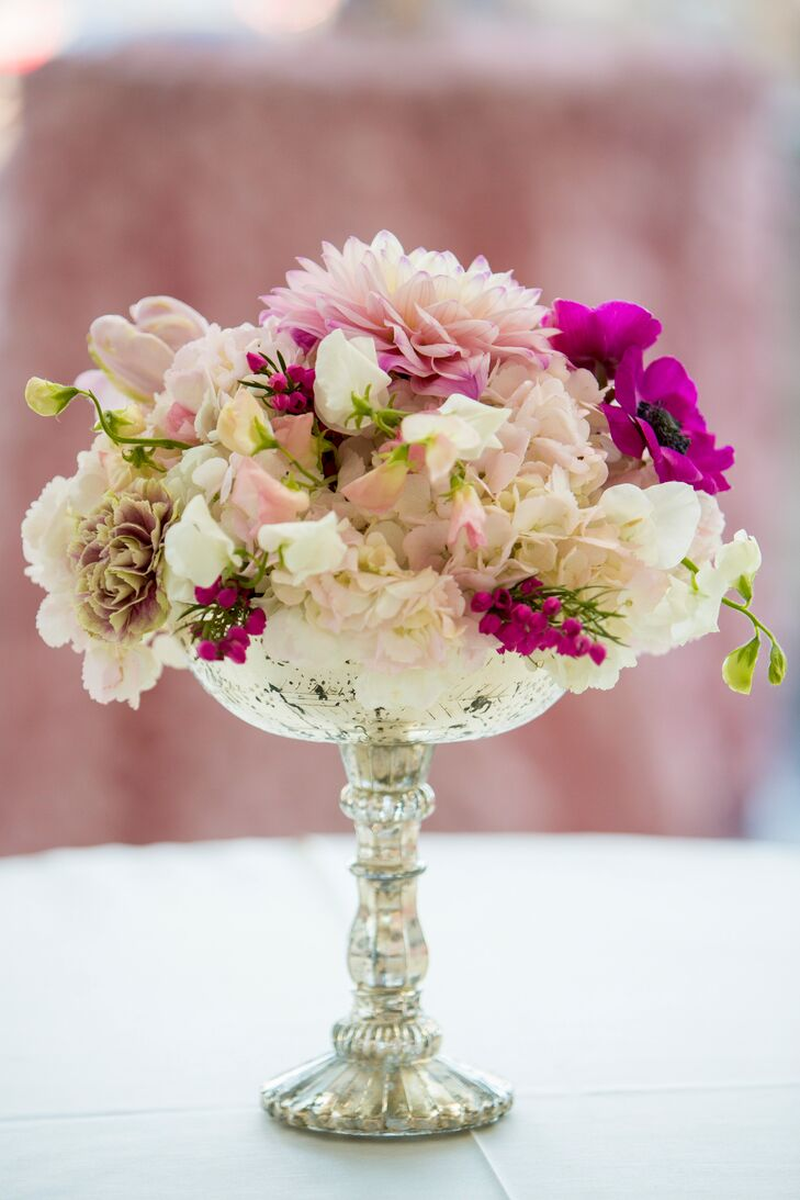 Pink and Ivory Crystal Centerpiece