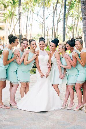 Knee-Length Seafoam Green Bridesmaid Dresses