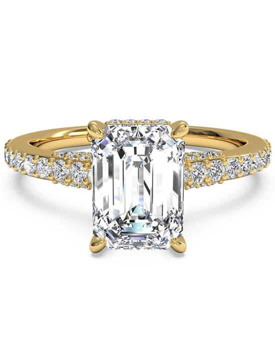Ritani French-Set Diamond Band Engagement Ring - in 18kt Yellow Gold - (0.45 CTW) for a Emerald Center Stone Engagement Ring photo