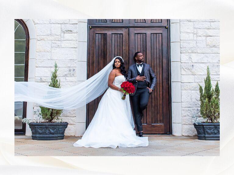 bride and groom in front of door